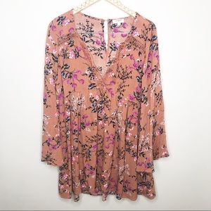 Umgee Boho Floral Bell Sleeve Mini Dress